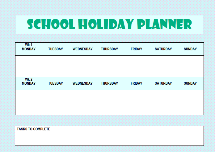 graphic regarding Free Printable School Planner named Higher education Holiday vacation Planner (Free of charge Printable)
